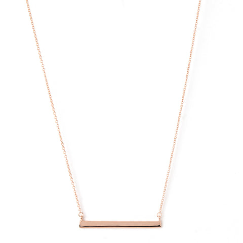 Rose Gold Polished Bar Necklace