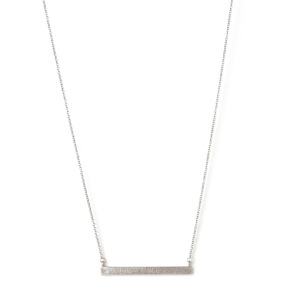Rhodium Satin Bar Necklace