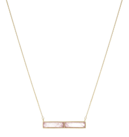 Rose Quartz Bar Necklace