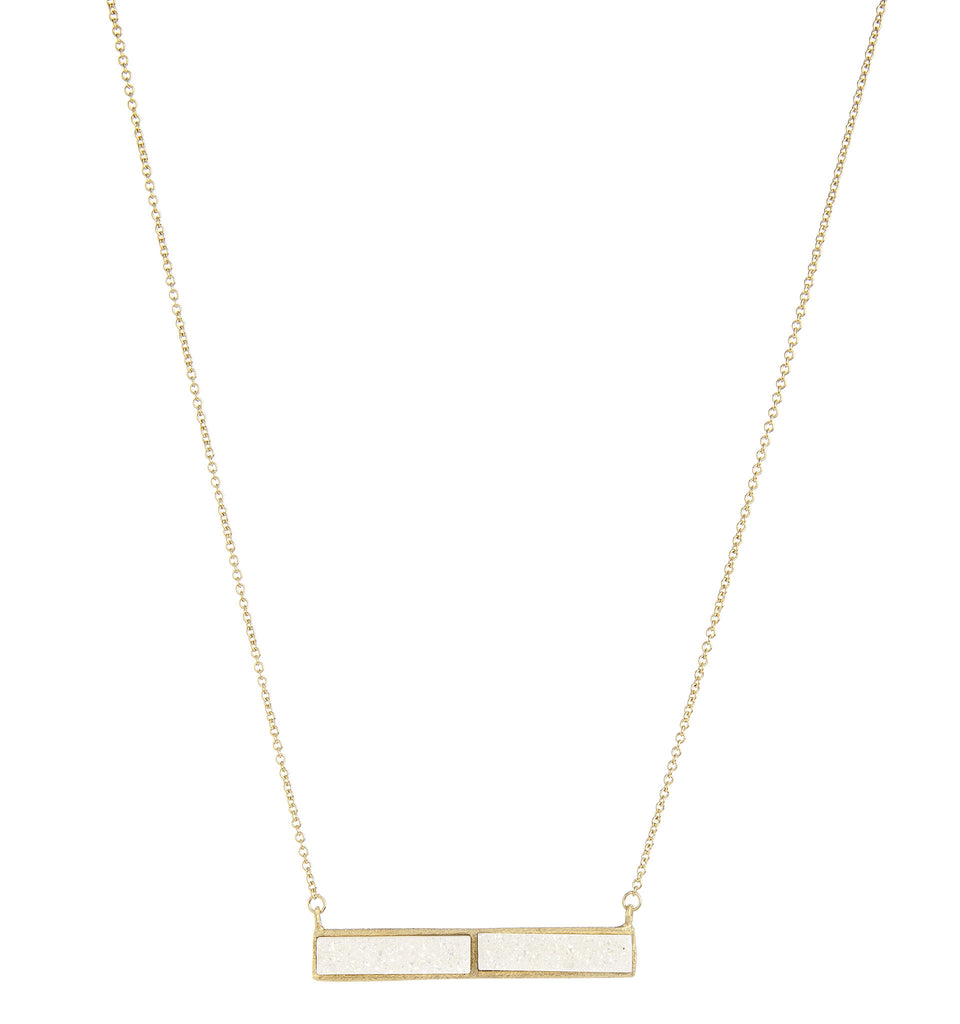 White Druzy Quartz Bar Necklace - Closeout