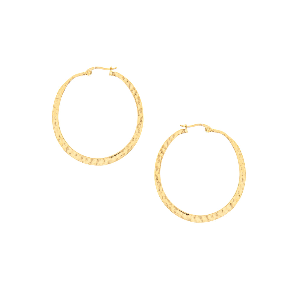 Polished Hammered Hoops