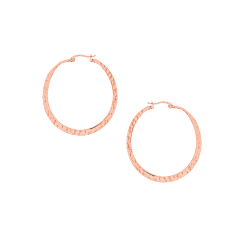 Rose Gold Polished Hammered Hoops