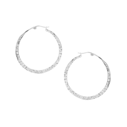 White Rhodium Polished Hammered Hoops
