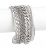 Mixed Chain Accent Rhodium Cuff