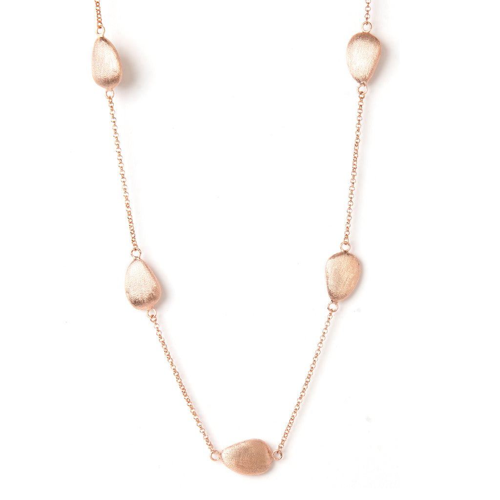 "Rose Gold Satin Pebble 18"" Station Necklace"
