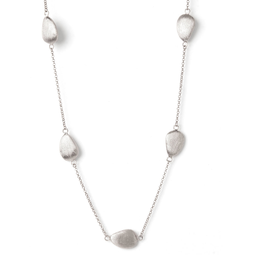"White Rhodium Satin Pebble 18"" Station Necklace"