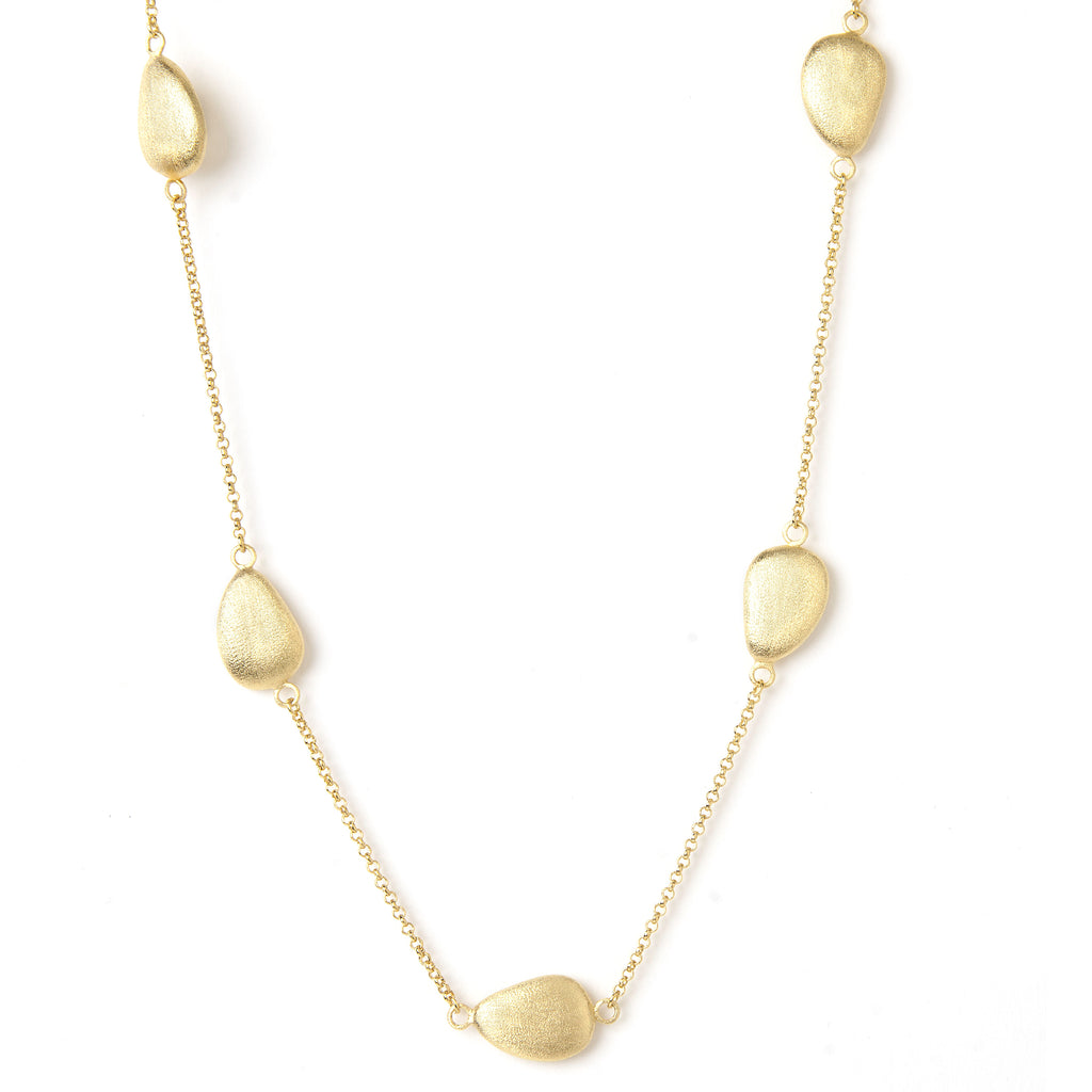 "Satin Pebble 18"" Station Necklace"