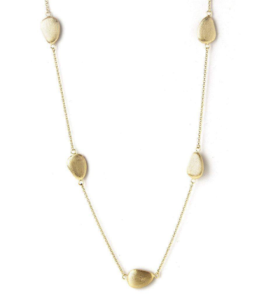Satin Pebble Long Station Necklace