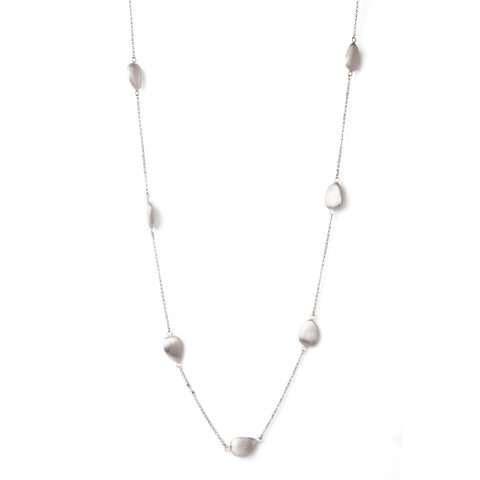 White Rhodium Satin Pebble Long Station Necklace