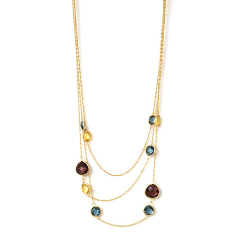 Denim Blue + Buttercup + Raspberry Crystal Layered Necklace