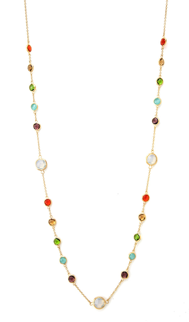 Multi Color Crystal Long Station Necklace