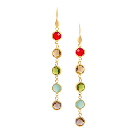 Multi Gem Drop Earrings - Fire Opal + Citrine + Peridot + Mint + Tourmaline Crystal + Satin Pebble