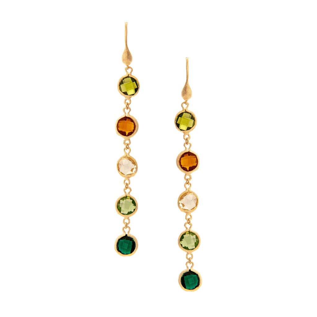 Multi Gem Drop Earrings - Peridot, Citrine, Rock, Kiwi, Emerald Crystal