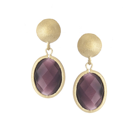 Purple Cat's Eye Earrings