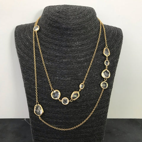 Rock Crystal Long Deco Necklace - Closeout