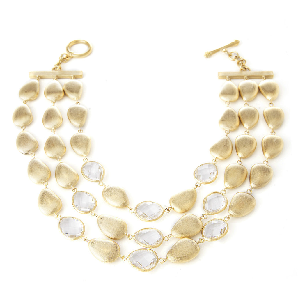 Rock Crystal + Satin Pebble Triple Row Statement Necklace