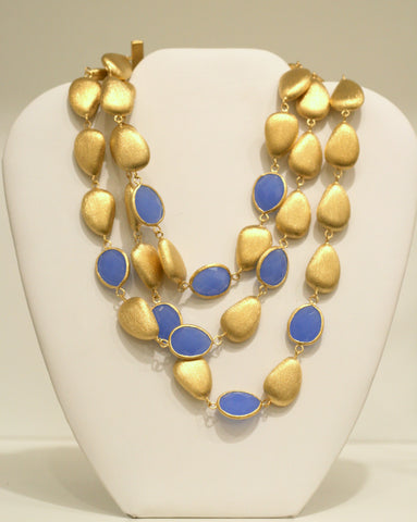 Triple Row Blue Onyx + Satin Bead Statement Necklace - Closeout