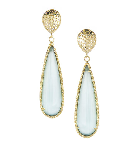 Aqua Cat's Eye Dangle Earrings