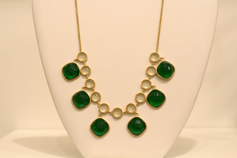 Olive + Emerald Statement Necklace - Closeout