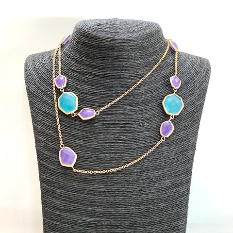 Caribbean Blue + Purple Deco Link Station Necklace - Closeout