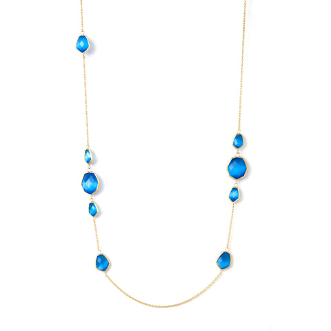 Blue Cat's Eye Deco Link Station Necklace
