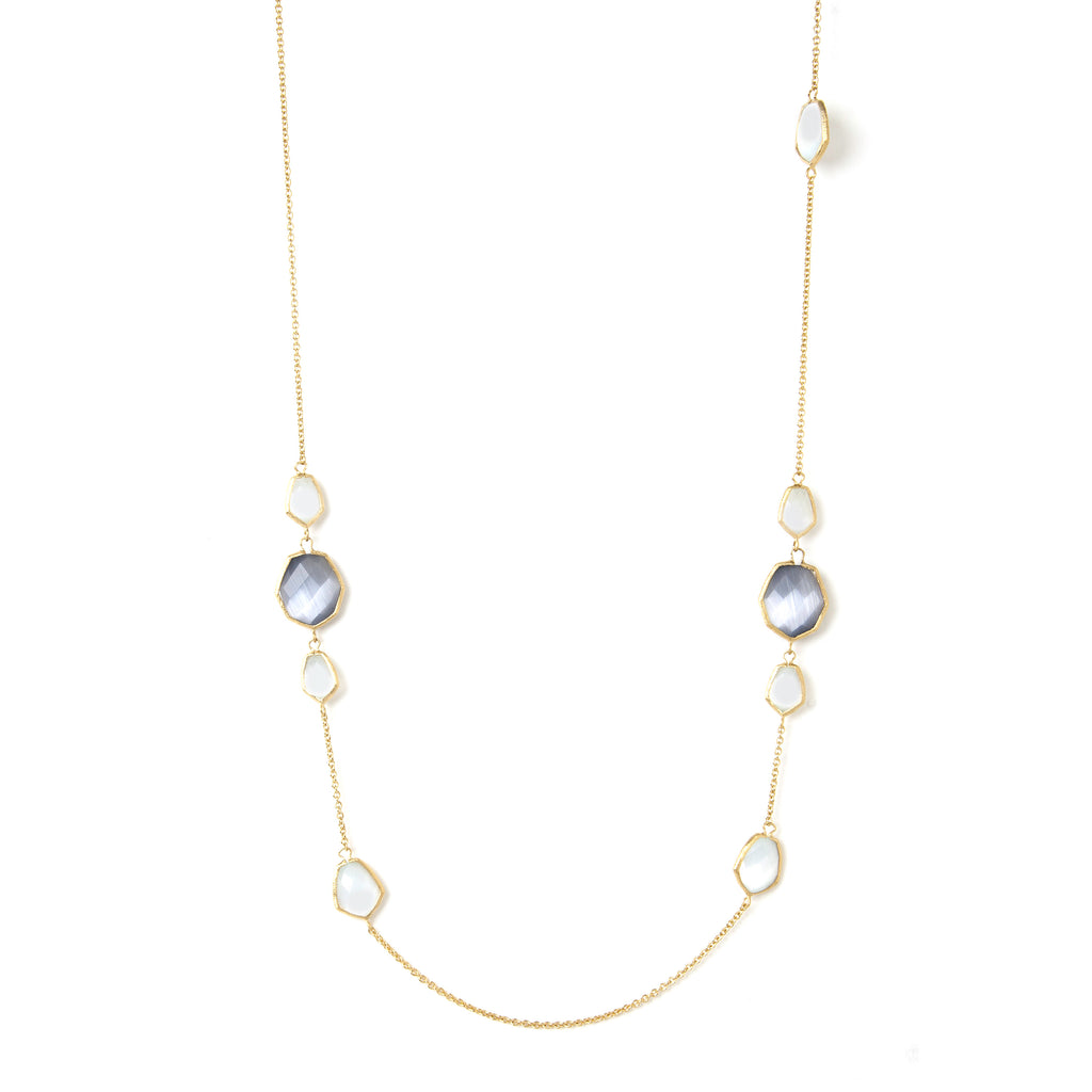 Grey + White Cat's Eye Deco Link Station Necklace