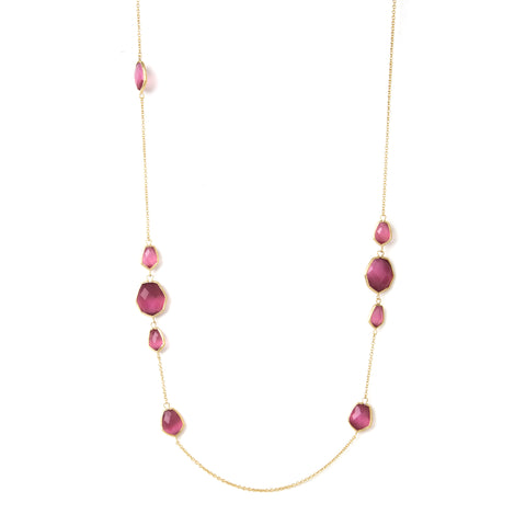 Raspberry Cat's Eye Deco Link Station Necklace