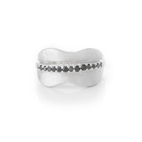 Simulated Black Diamond Rhodium Band Ring