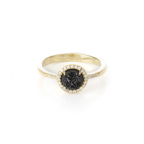 Black Druzy Quartz + Simulated Diamond Ring