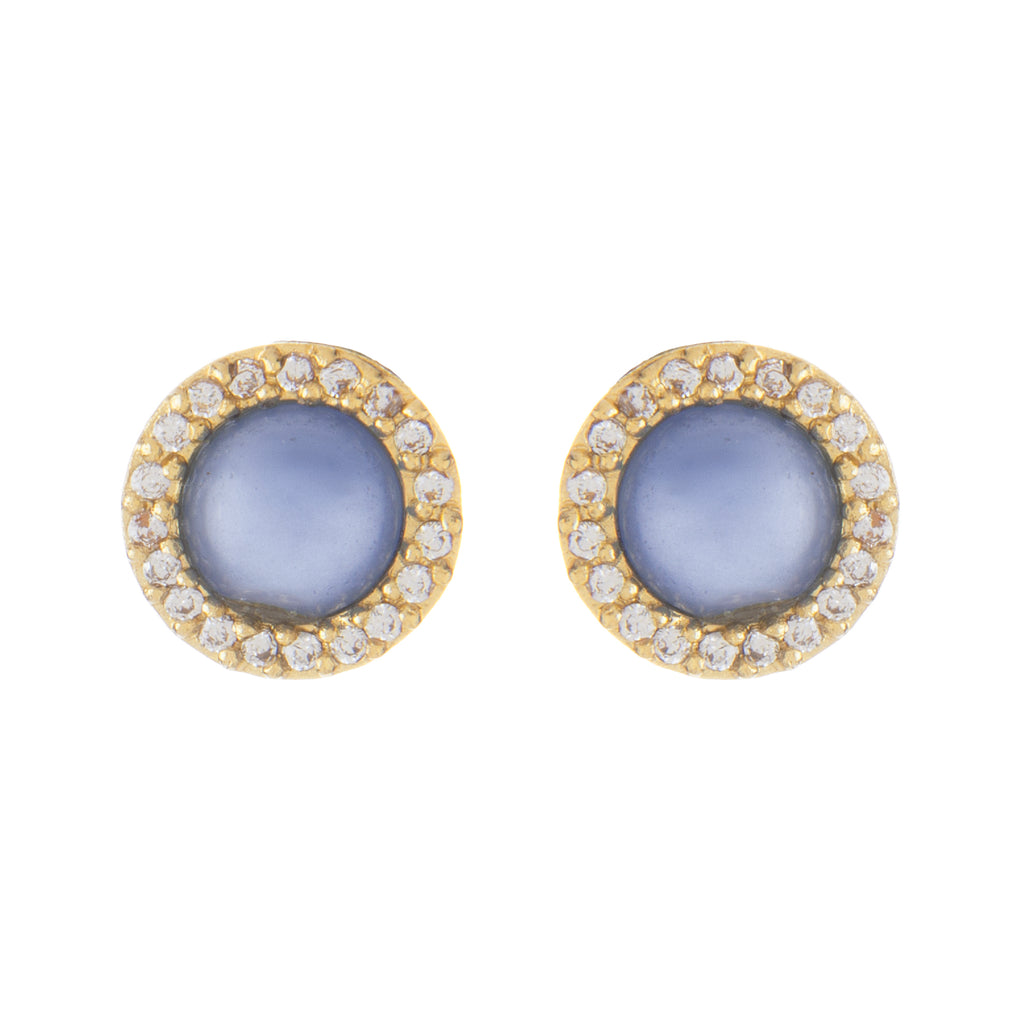 Blue Chalcedony + Cubic Zirconia Halo Stud Earrings - Closeout