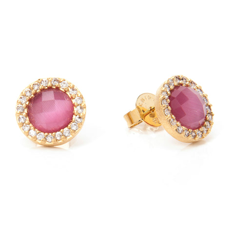 Raspberry Cat's Eye + Simulated Diamond Stud Earrings
