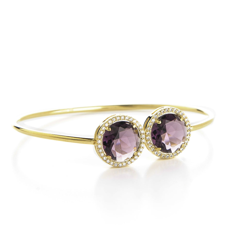 Amethyst + Simulated Diamond Bangle