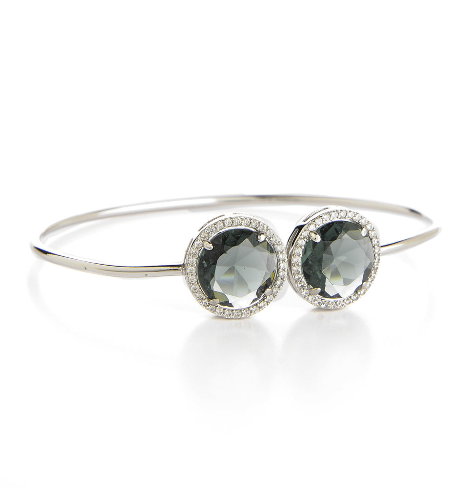 Platinum Grey & Simulated Diamond Rhodium Bangle