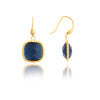Cat's Eye Navy Cable Cushion Dangle Earrings