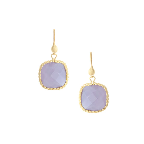Lavender Chalcedony Cushion Dangle Earrings