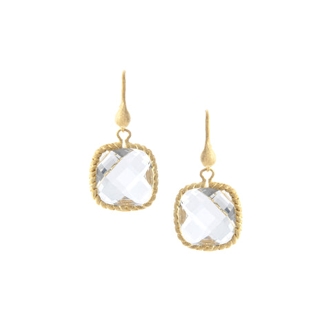 Rock Crystal Cushion Dangle Earrings
