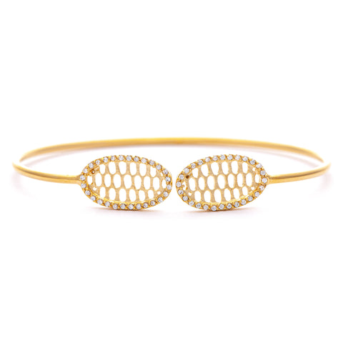 Cubic Zirconia Oval Tip Bangle