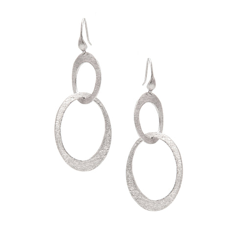 White Rhodium Cascading Oval Earrings