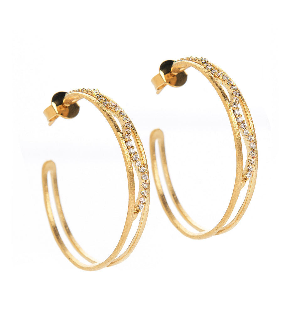 Simulated Diamond 3/4 Hoop Earrings