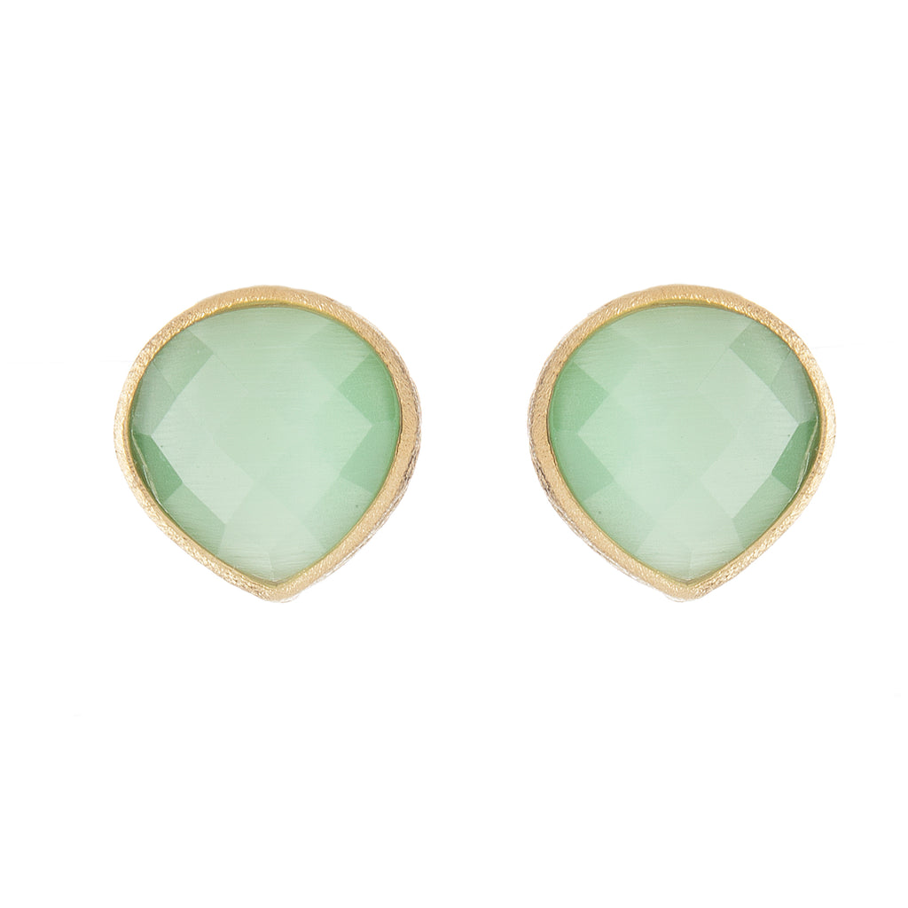 Lime Green Cat's Eye Teardrop Stud Earrings