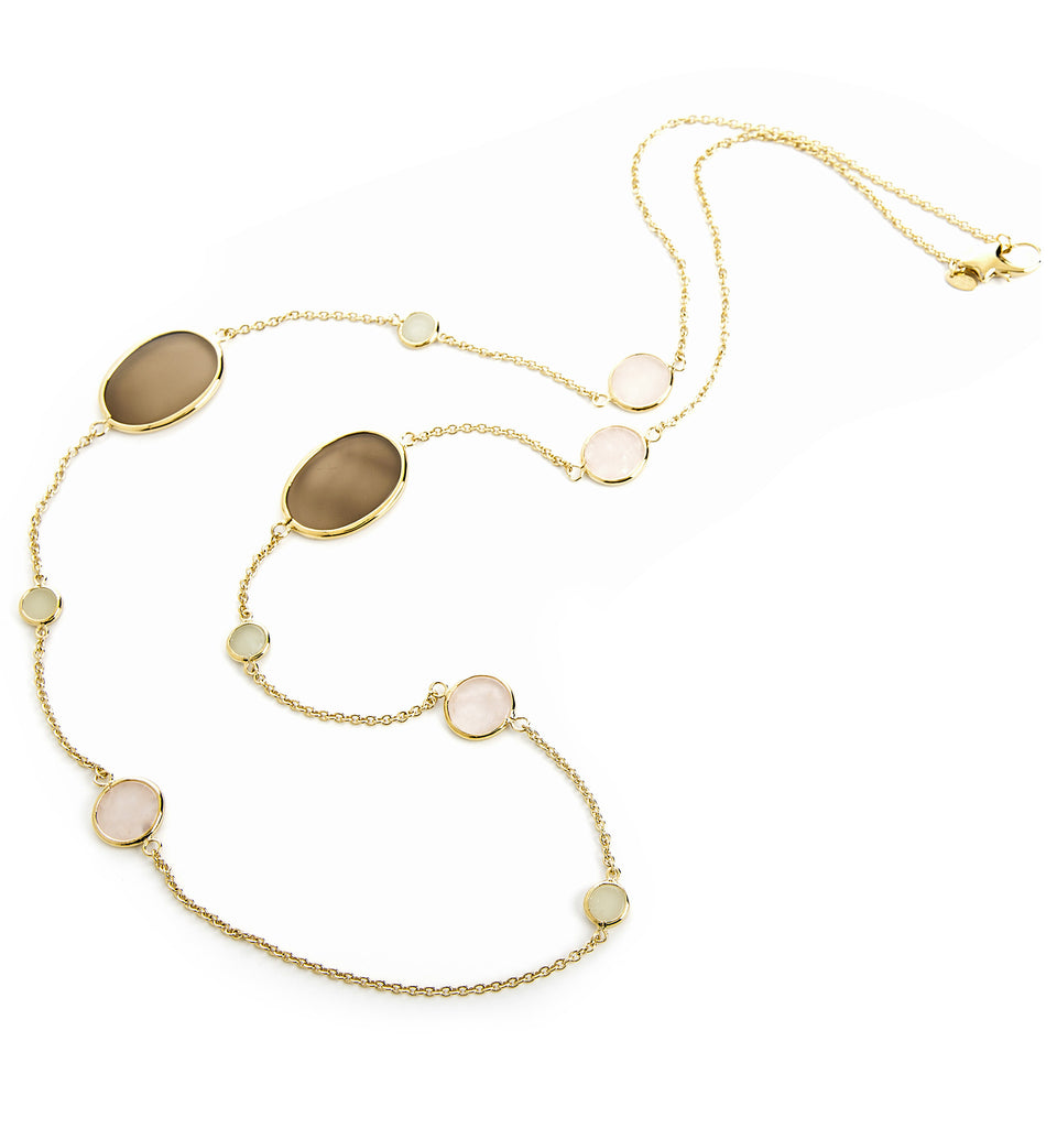Rose Quartz + New Jade + Grey Chalcedony Station Necklace