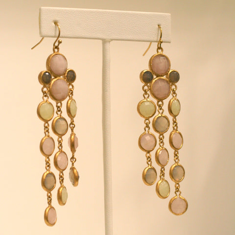 Rose Quartz, Gray Chalcedony, New Jade Chandelier Earrings - Closeout