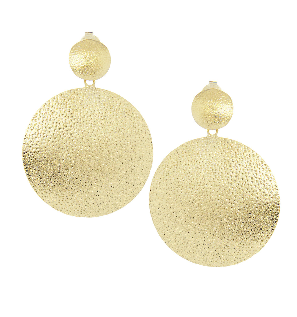 Bold Hammered Disc Earrings