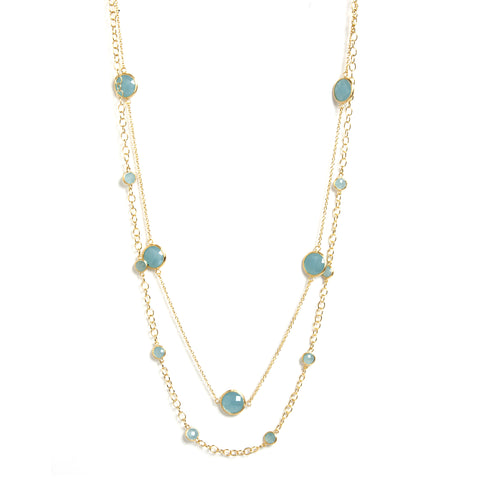 Caribbean Quartzite Station Double Layered Necklace
