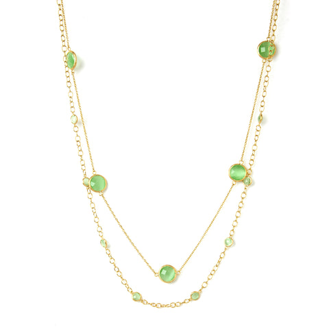 Lime Green Cat's Eye Station Double Layered Necklace