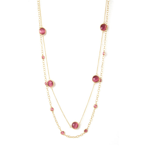 Raspberry Cat's Eye Station Double Layered Necklace