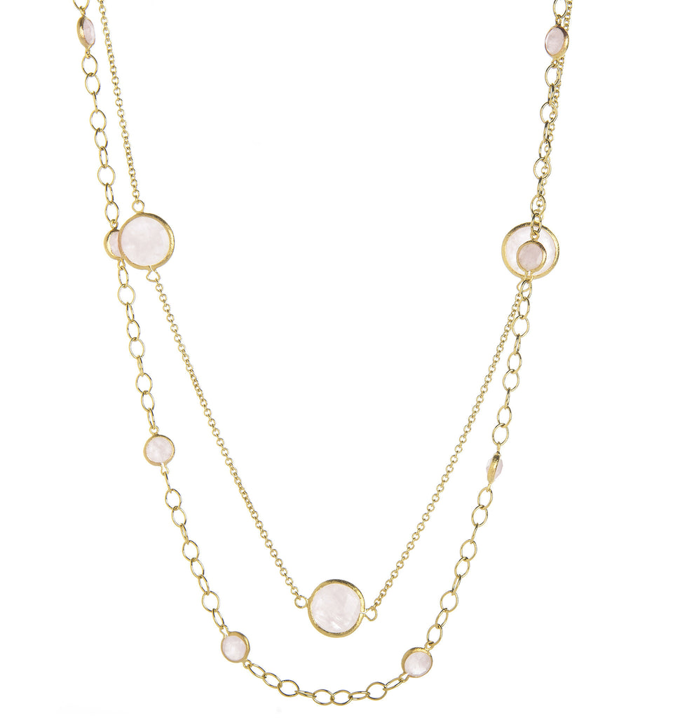 Rose Quartz Station Double Layered Necklace