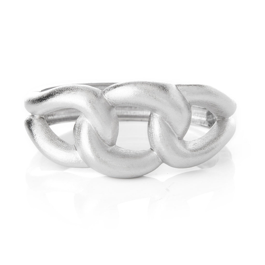 Triple Link Hinged Rhodium Cuff