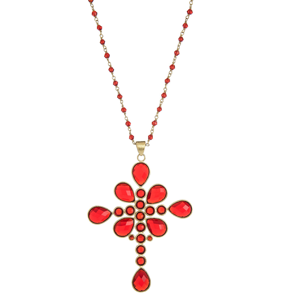 Cayenne Cross Pendant on Beaded Chain - Closeout
