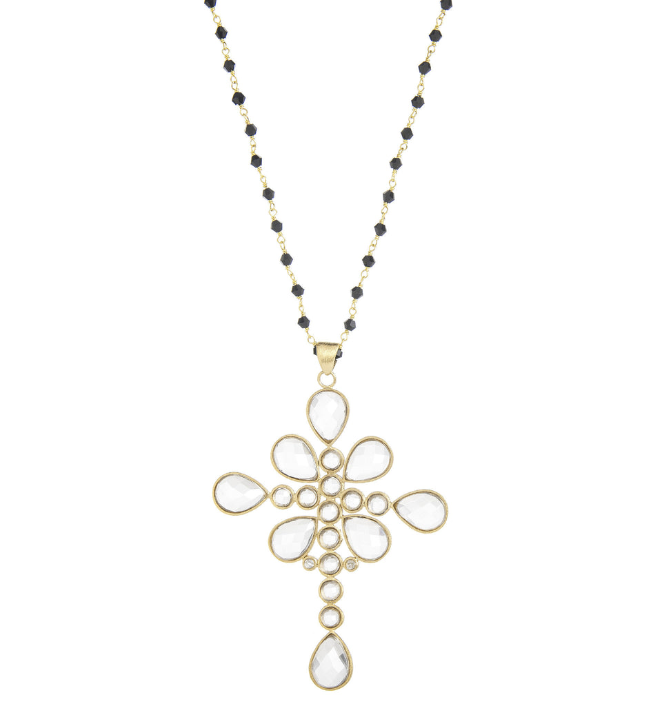 Bold Rock Crystal Cross Pendant on Onyx Beaded Chain - Closeout